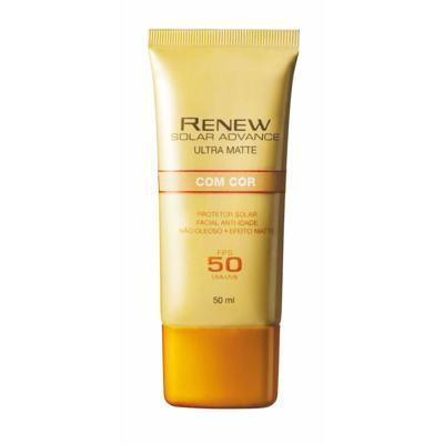 Renew Solar Advance Ultra Matte com Cor Protetor Solar Facial Anti-Idade FPS50 50 ml