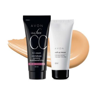Kit CC Cream FPS50 e Removedor de maquiagem dos olhos - Bege Médio FPS50 e Removedor