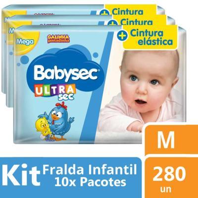 Imagem 2 do produto Kit Fralda Babysec Galinha Pintadinha Ultra Jumbo M 280 unidades