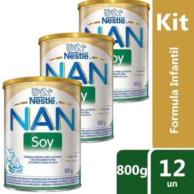 Imagem 6 do produto Kit Fórmula Infantil Nestlé Nan Soy 800g 12 unidades -