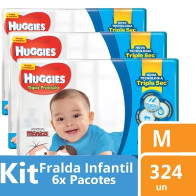 Imagem 2 do produto Kit Fralda Huggies Turma da Mônica Tripla Proteção M 324 unidades