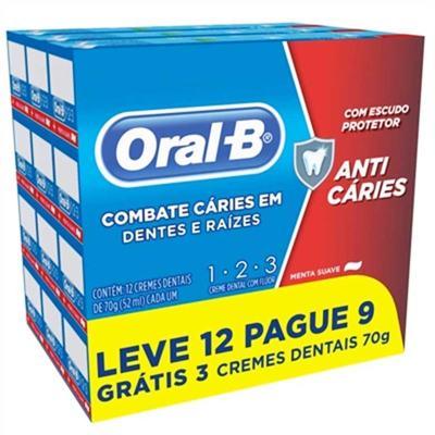 Imagem 1 do produto Kit Creme Dental Oral B 123 Anti Cáries Menta Suave Leve 12 Pague 9 com 70g cada