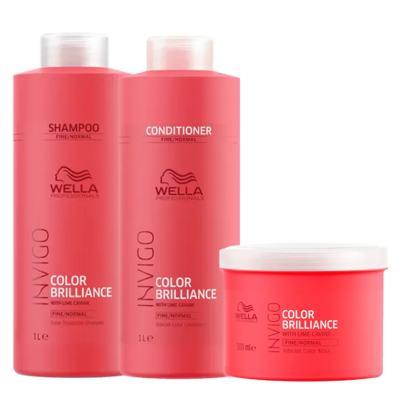 Kit Invigo Color Brilliance Tamanho Profissional Wella - Shampoo + Condicionador + Máscara - Kit