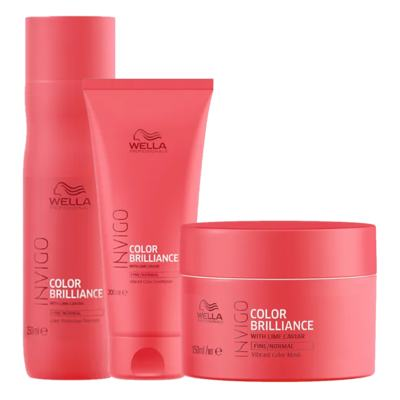 Imagem 1 do produto Kit Invigo Color Brilliance Wella - Shampooo + Condicionador + Máscara - Kit