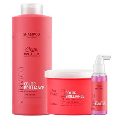 Imagem 1 do produto Kit Invigo Color Brilliance Tamanho Profissional Wella - Shampoo + Máscara + Booster - Kit