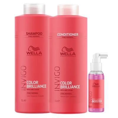 Imagem 1 do produto Kit Invigo Color Brilliance Tamanho Profissional Wella - Shampoo + Condicionador + Booster - Kit