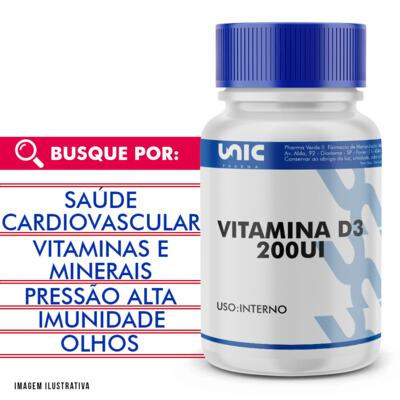 Imagem 1 do produto Vitamina D3 5mcg (200UI) - 120 Cápsulas