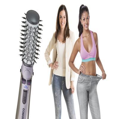 Imagem 2 do produto Escova Rotating Air Brush Titanium Conair + 2 Calças Modeladoras Lejeans - | 127v + lejeans azul despojado + cinza