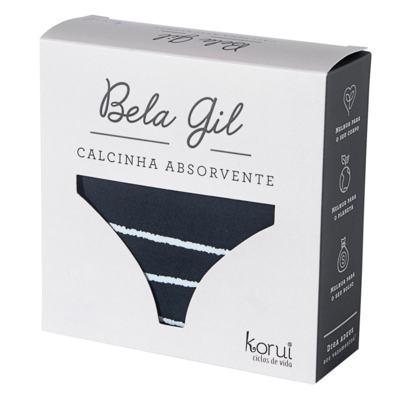 Imagem 4 do produto Calcinha Absorvente Bela Gil Korui - Preta e Branca - XGG