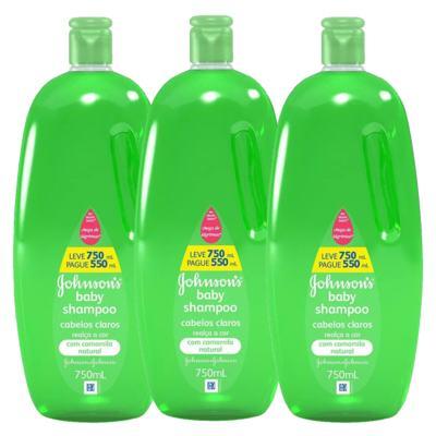 Leve 3 Shampoos para Cabelos Claros Johnson Baby - Kit