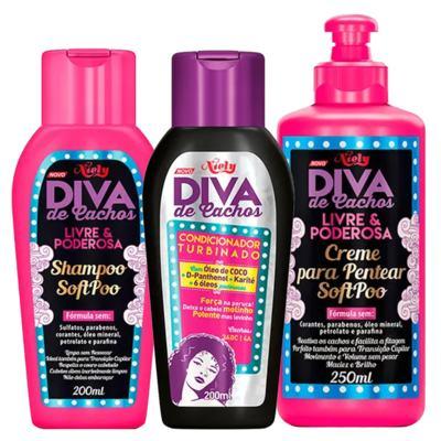 Imagem 1 do produto Diva de Cachos Soft Poo Niely - Shampoo + Condicionador + Creme para Pentear - Kit