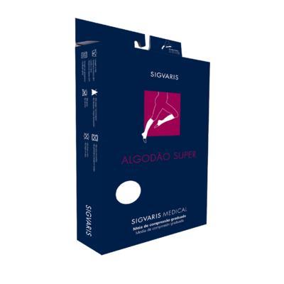 Imagem 1 do produto Meia Panturrilha 20-30 Algodão Super Sigvaris - Normal Preta Ponteira Fechada G