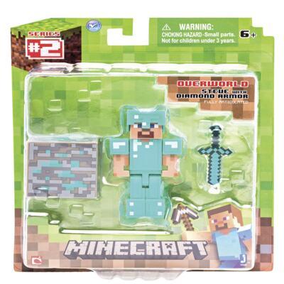 Imagem 1 do produto Minecraft Steve Com Armadura De Diamante Boneco Articulado + 2 Acessórios - BR153 - BR153