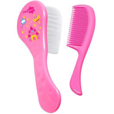 Imagem 1 do produto Conjunto Escova e Pente Neopan Rosa Estampas Sortidas Ref 7202