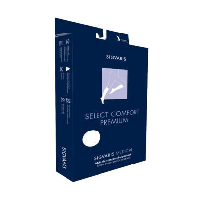 Meia Panturrilha 20-30 Select Comfort Premium Sigvaris - Normal Preto Ponteira Fechada G