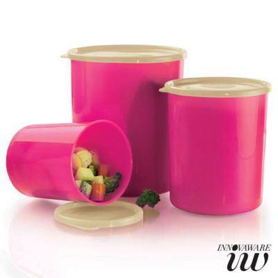 Kit 3 Potes Innovaware Redondos Tecno Pink