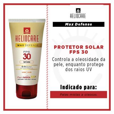 Imagem 2 do produto Heliocare Max Defense Oil Reduction Gel Creme FPS 30 Heliocare - Protetor Solar Fps 30 - 50g