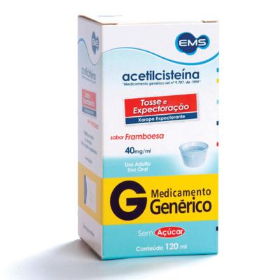 Acetilcisteína Xarope Adulto Genérico EMS - 40mg Sabor Framboesa   120ml