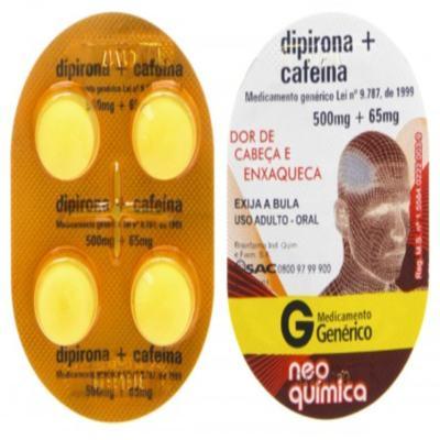 Dipirona Sódica + Cafeina Genérico Neo Quimica - 4 comprimidos