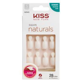 Unhas Postiças Kiss New York Salon Naturals - curta, quadrada com abas   28 unidades