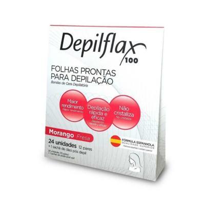 Cera de Depilação  Depilflax  Folha Pronta Facial Morango - 24UN