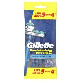 Aparelho de Barbear Descartável Gillette - Prestobarba UltraGrip2 | 5 unidades | Leve 5 Pague 4
