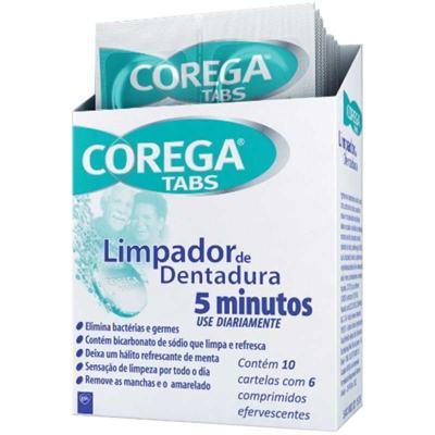 Limpador de Dentadura Corega Tabs - Antibacteriano Branqueador | 6 comprimidos efervescentes