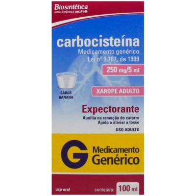 Carbocisteina Xarope Adulto Genérico Biosintética (Aché) - 250mg/5ml | 100ml
