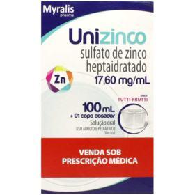 Unizinco - 17,60mg/mL | caixa com 1 frasco com 100mL de solução de uso oral + copo medidor