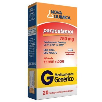 Paracetamol Genérico Nova Quimica - 750mg | 20 comprimidos