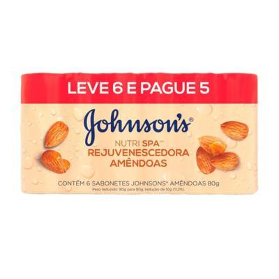 Sabonete Johnsons Barra Nutri Spa Rejuvenescedora - Amendoa | 80g | Leve 6 Pague 5