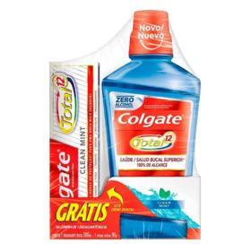Kit Creme Dental Colgate Total 12 Clean Mint - 90g/60ml | Gratis Plax Enxaguante Bucal Fresh Mint