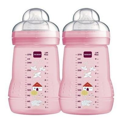 Kit Mamadeira Mam Fashion Bottle 270ml - Rosa   2 unidades