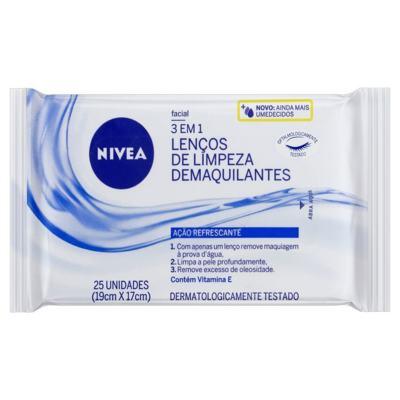 Lenços de Limpeza Facial Nivea - Ação Refrescante | 25 unidades
