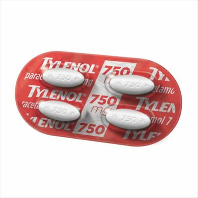 Tylenol Comprimido - 750mg, blíster com 4 comprimidos revestidos
