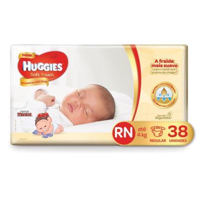 Fralda Huggies Turma da Mônica Soft Touch Primeiros 100 Dias - RN   38 unidades