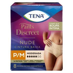 Calcinha Descartável Tena Pants Discreet - Nude Tamanho P/M | 8 unidades