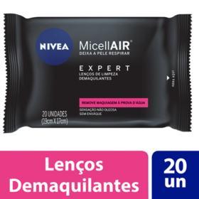 Lenços de Limpeza Demaquilantes Nivea MicellAIR Expert - 20 unidades