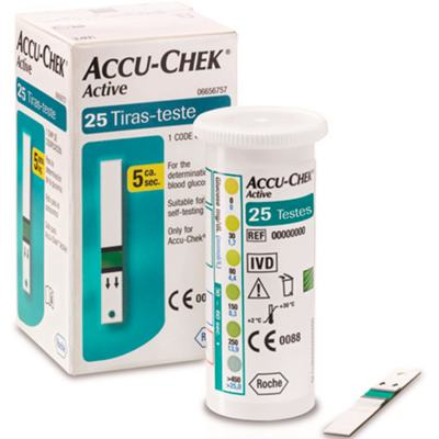 Tiras Para Teste De Glicemia Accu-Chek - Active | 25 unidades