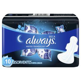 Absorvente Always Noites Tranquilas - Cobertura Seca Hiper Longo Com Abas   10 unidades