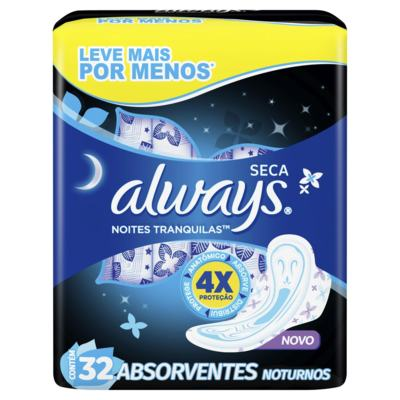 Absorvente Always Noites Tranquilas - Cobertura Seca Com Abas | 32 unidades