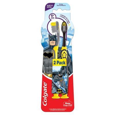Escova Dental Colgate Smiles - Batman e Mulher Maravilha 6+ anos Extra Macia | Pack 2 Unidades