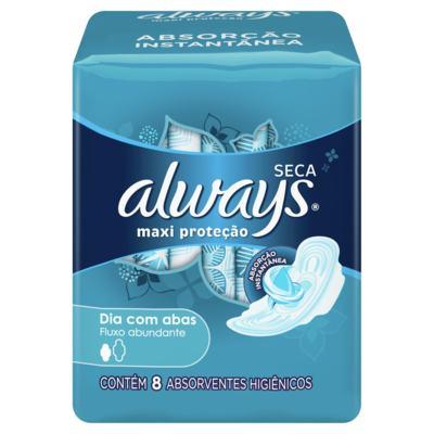 Absorvente Always - Maxi proteção Seca com abas | 8 unidades