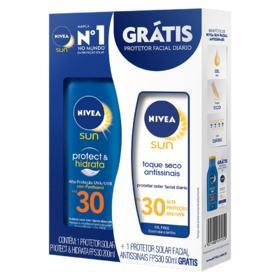 Kit Protetor Solar Nivea Protect e Hidrata - FPS30 | 200ml | + Protetor Solar Facial Antissinais FPS30 50ml