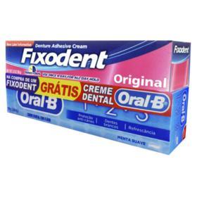 Creme Fixador de Dentaduras Fixodent - Original | 2 itens | 1 unidade com 68g + creme dental Oral B com 68g, grátis