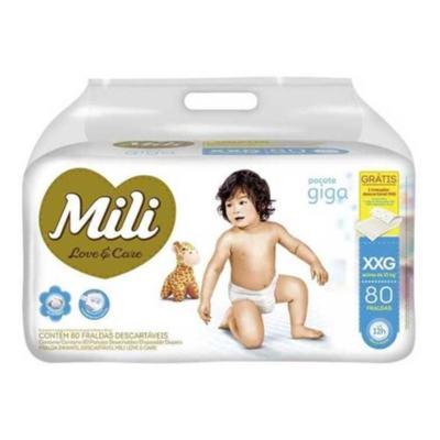Fralda Descartável Mili Love & Care - Tamanho XXG   80 unidades