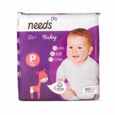 Fralda Descartável Needs Baby - Tamanho P   50 unidades