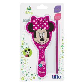 Conjunto de Escova e Pente Lillo Rosa - Minnie   1 Kit