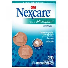 Curativo Feito de Micropore Redondo com 20un Nexcare 3M