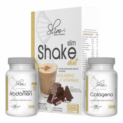 kit Slim Shake Diet Chocolate 300g + Reductor abdômen 60 caps + Colágeno 100 caps - Slim -